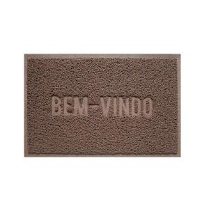 Tapete Capacho Vinil 0.40x 0.60cm Bem-Vindo - Marrom - Bella Casa