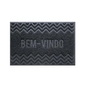 Tapete Capacho Vinil 0.40x 0.60cm Bem-Vindo - Cinza - Bella Casa
