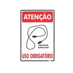 Placa Atenção Protetor Auricular Obrigatório Ps240 - Encartale