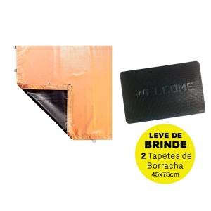 Lona Caminhão PVC 4 x 10.50 Metros com Argolas - Laranja/Preta REFORÇADA + BRINDE