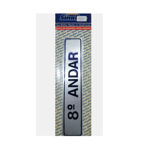 Placa Alumínio 8 Andar 5x25cm