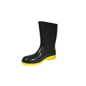 Bota PVC Cano Curto sem Forro Preta Solado Amarelo - Bracol