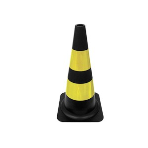 Cone Sinalização Flexível Refletivo 75cm Preto/Amarelo