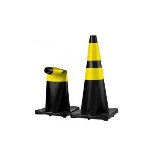 Cone Sinalização Flexível Refletivo 50cm Amarelo/Preto