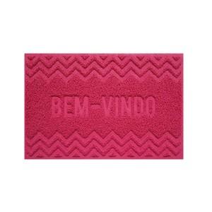 Tapete Capacho Vinil 0.40x 0.60cm Bem-Vindo - Vermelho - Bella Casa