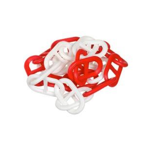 Corrente Plástica de 63 x 34mm Branca/Vermelha (Vendida por Metro)