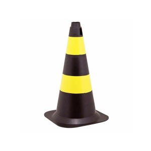 Cone Sinalização Rigido PVC 50cm Preto/Amarelo