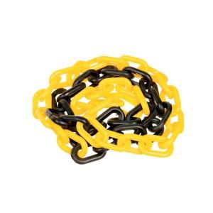 Corrente Plástica 63 x 34mm Preta/Amarela (Vendida por Metro)